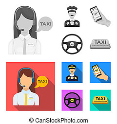 A taxi driver with a microphone, a taxi driver at the wheel, a cell phone with a number, a car steering wheel. Taxi set collection icons in monochrome, flat style bitmap symbol stock illustration web.