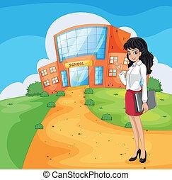 A teacher going to the school