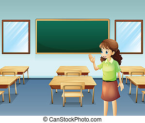 A teacher inside the empty classroom - Illustration of a...