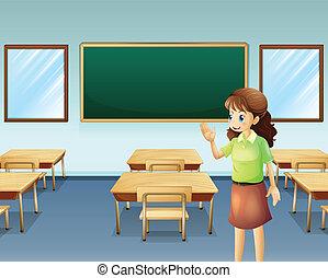 A teacher inside the empty classroom