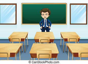 A teacher inside the room