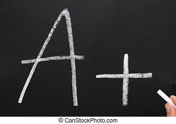 A teacher writing A+ on a blackboard.