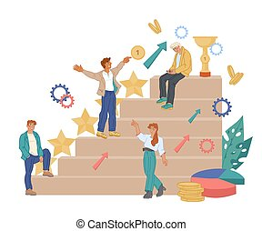 A team of business people climbs the corporate ladder, vector illustration..