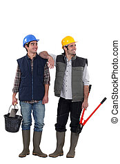 A team of distracted tradesmen