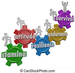 A team of people march up gears marked with words Stamina, Attitude, Resilience, Endurance and Survival to illustrate overcoming and outlasting a challenge, difficulty or trouble