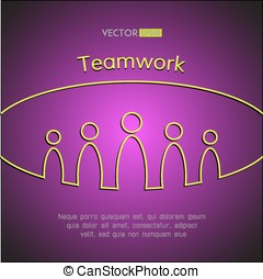 A team of people. Teamwork business concept. Vector illustration