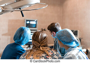 A team of pet surgeons monitors sensors on screens at the time of surgery