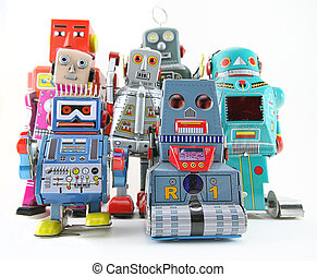a team of retro robots