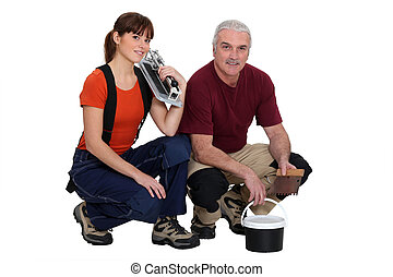 A team of tile fitters