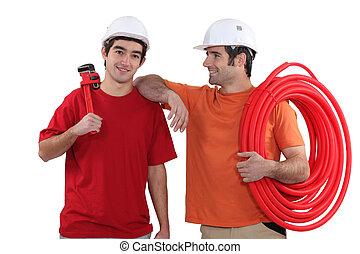 A team of tradesmen