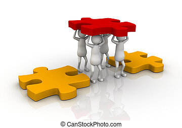 A team works together to lower - A team works together to...