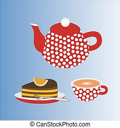 A teapot with a cup of tea and a cake.