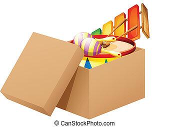 a, tecknad film, fyllda, av, toys