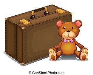 A teddy bear beside a big bag - Illustration of a teddy bear...