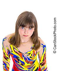 A teenage girl in a short dress.