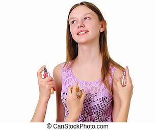 a teenage girl in studio with perfume