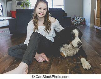 Teenage girl with dog