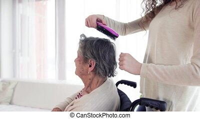 A teenage girl with grandmother at home. - A teenage girl...