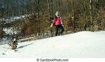 a, teenager, auf, a, weg innen, winter, nature.