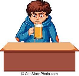 A teenager boy drinking beer