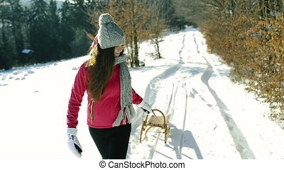 A teenager on a walk in winter nature. - A pretty teenage ...