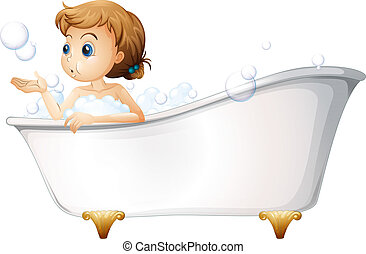 A teenager taking a bath at the bathtub - Illustration of a...
