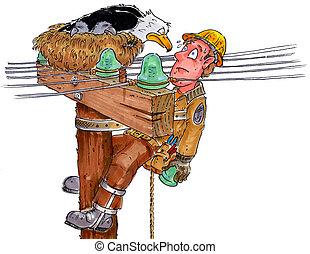 lineman - A telephone lineman replacing an insulator staring...