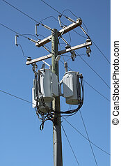 A Telephone pole with three transformers