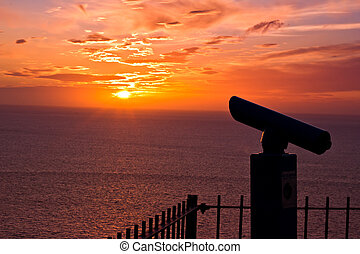 Sunset at Llandudno Wales - A Telescope in the Sunset at ...