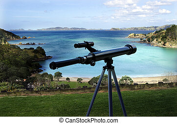 Telescope pointing at the sea - A Telescope pointing at the...