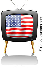 A television with the flag of the USA