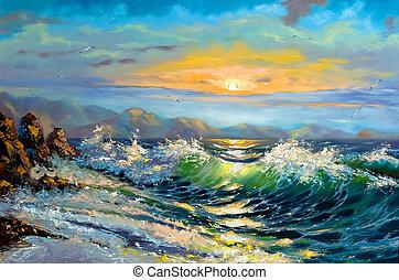 a, tempestade, mar, ligado, um, declínio