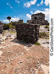 A Temple on one of the Mayan ruins in Tulum Mexico Yucatan