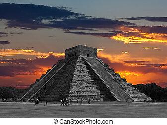 a, templos, de, chichen itza, templo, em, méxico