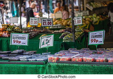 A temporary public market in England, normally set up outdoors on certain days of the week, often, but not always, in a street