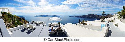 a, tenger kilátás, terasz, -ban, fényűzés, hotel, santorini sziget, görögország