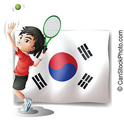 A tennis player in front of the South Korean flag