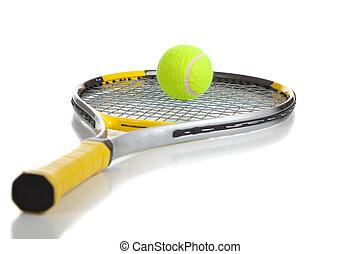 a, tennisball, und, schläger, weiß