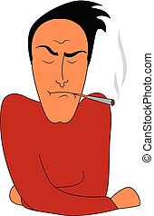 A tensed man smoking vector or color illustration