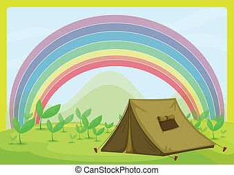 A tent and a rainbow - Illustration of a tent and a rainbow ...