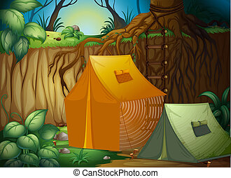 A tent camp in the woods