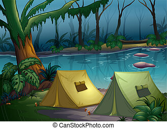 A tent camp in the woods - Illustration of a tent camp in...