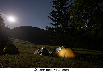A tent glows under a night sky full of stars.