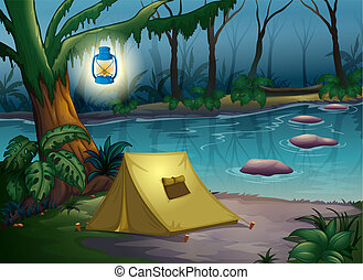 A tent in dark night near water