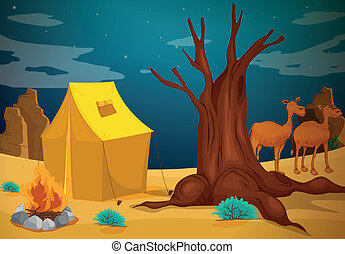 A tent with a camp fire