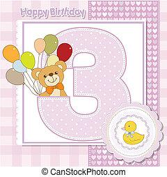 a, terceiro, aniversário, de, a, cartão aniversário