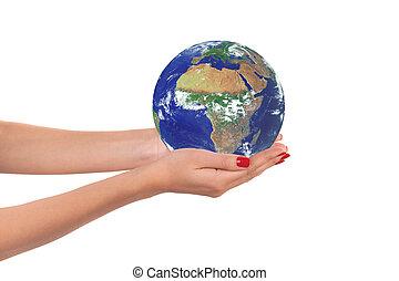 a, terra planeta, em, um, mulher, hands.