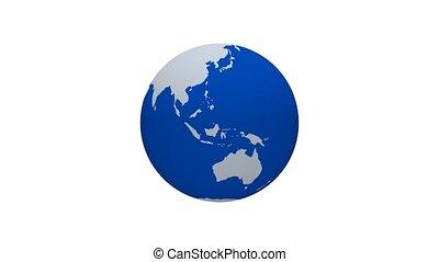 a, terra planeta, giro, itself, -, animação