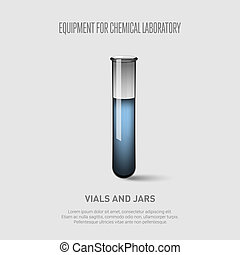 A test tube with blue liquid. Equipment for chemical laboratory. Transparent glass test tube Vector illustration