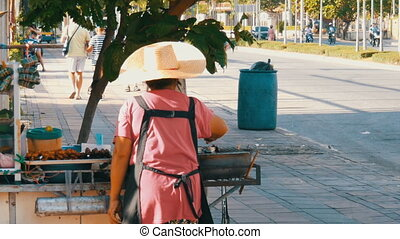 Thai woman sells Thai street food on a portable trolley. Asian exotic dishes